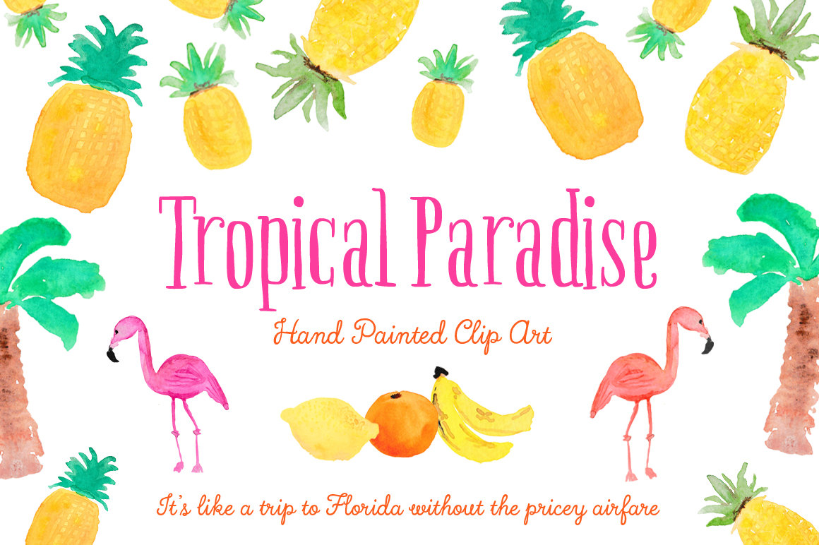 Haven clipart paradise Clipart Hand Etsy fruity flamingo
