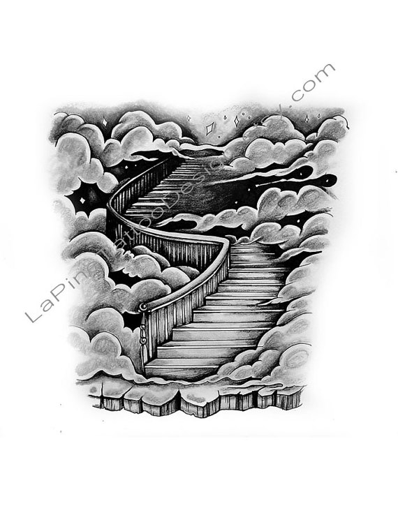 Haven clipart staircase Heaven/Clouds to Tattoo Stairway Design
