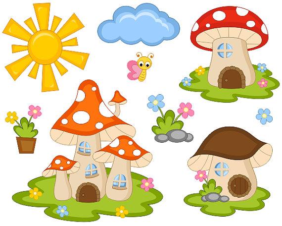 Haven clipart sun cloud Mushroom Houses Houses Sun Cloud