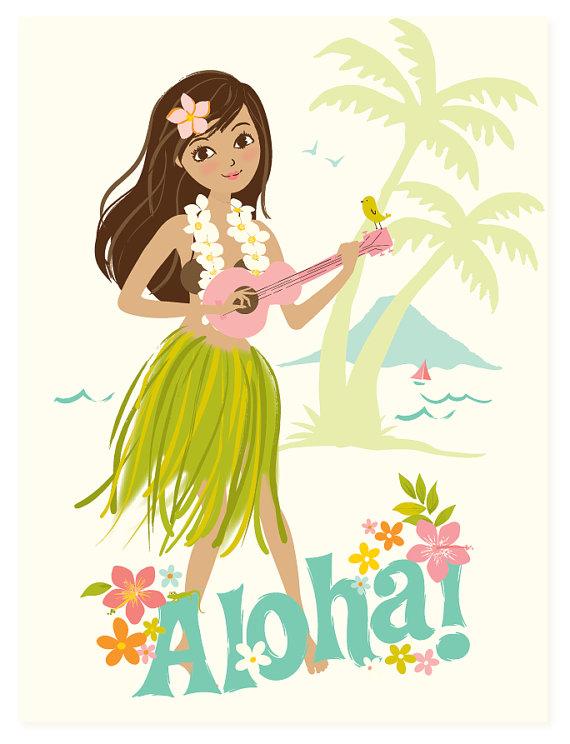Hawaii clipart hula dancer Wall art Aloha Hawaiian children