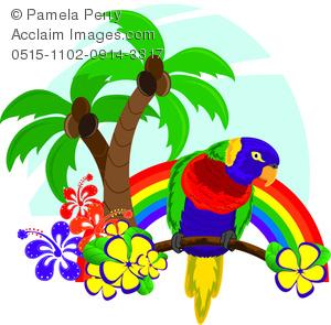 Parrot clipart rainbow color Rainforest Rainforest Tropical Clipart of