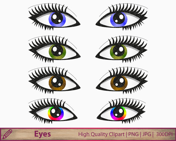 Hazel Eyes clipart female eye Digital clip illustration art eyes
