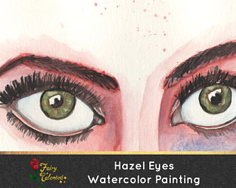 Hazel Eyes clipart round eye Etsy of Watercolor Hazel Artwork