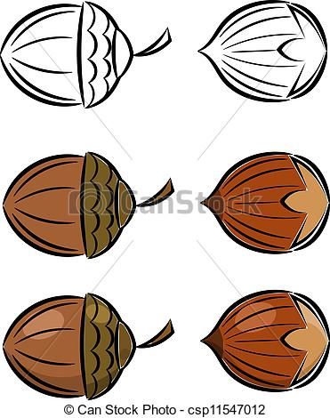 Hazelnut clipart Of Art set and acorn