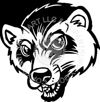 Badger clipart mascot Badger head Wolverine badger head