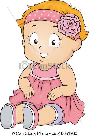 Headband clipart cartoon Girl Headband Art csp18851960 Baby