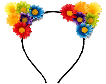 Headband clipart cat ear Crown Cat Floral Headband Headband