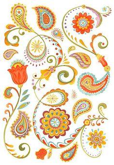 Orange clipart paisley Use Clip drawn Drawn Drawn
