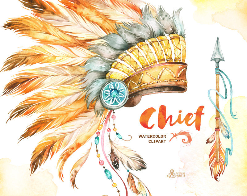 Headdress clipart african chief This Chief  Arrow Watercolor