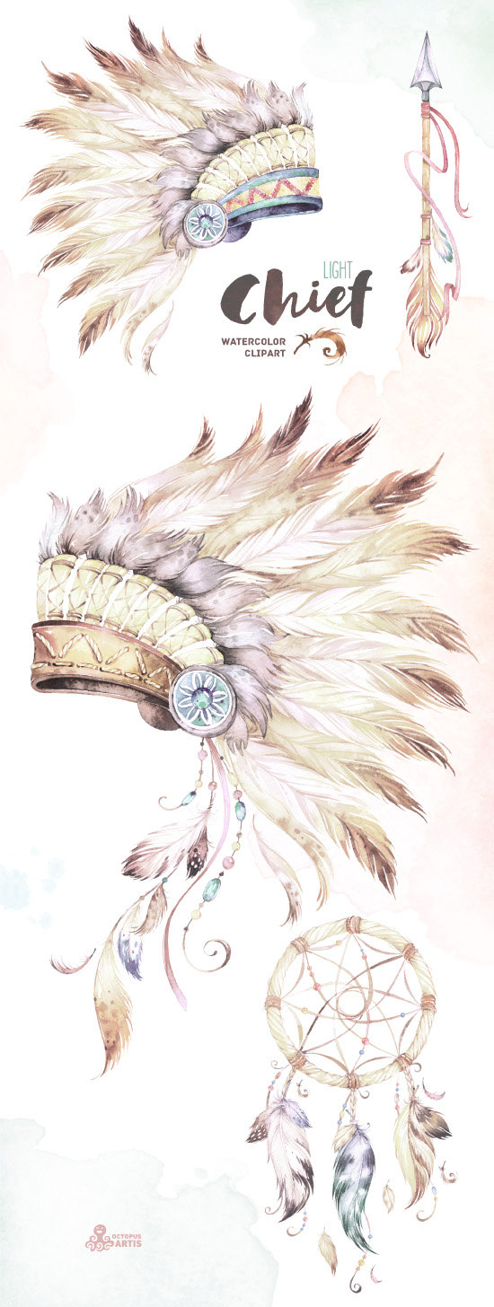 Headdress clipart african chief This Chief Watercolor and Arrow
