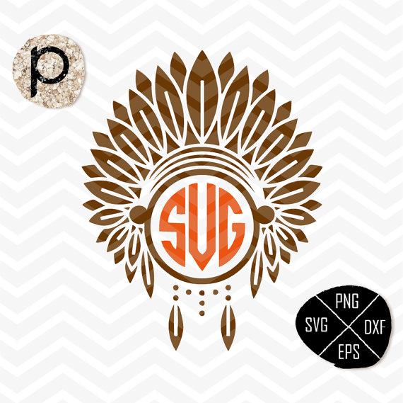 Headdress clipart apache Monogram*Indian File*Cricut*Silhouette*Sure SVG*Headdress Indians Apache
