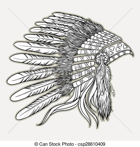 Headdress clipart black and white Chief chief in of Clip