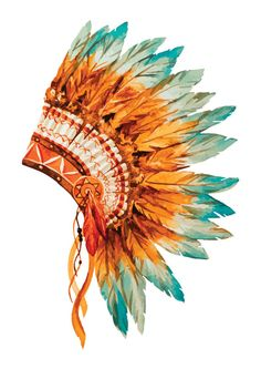 Native American clipart headpiece  Native by Watercolor TheCrowdFactor