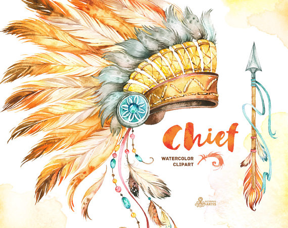 Headdress clipart chief Chief Watercolor Chief and Dreamcatcher