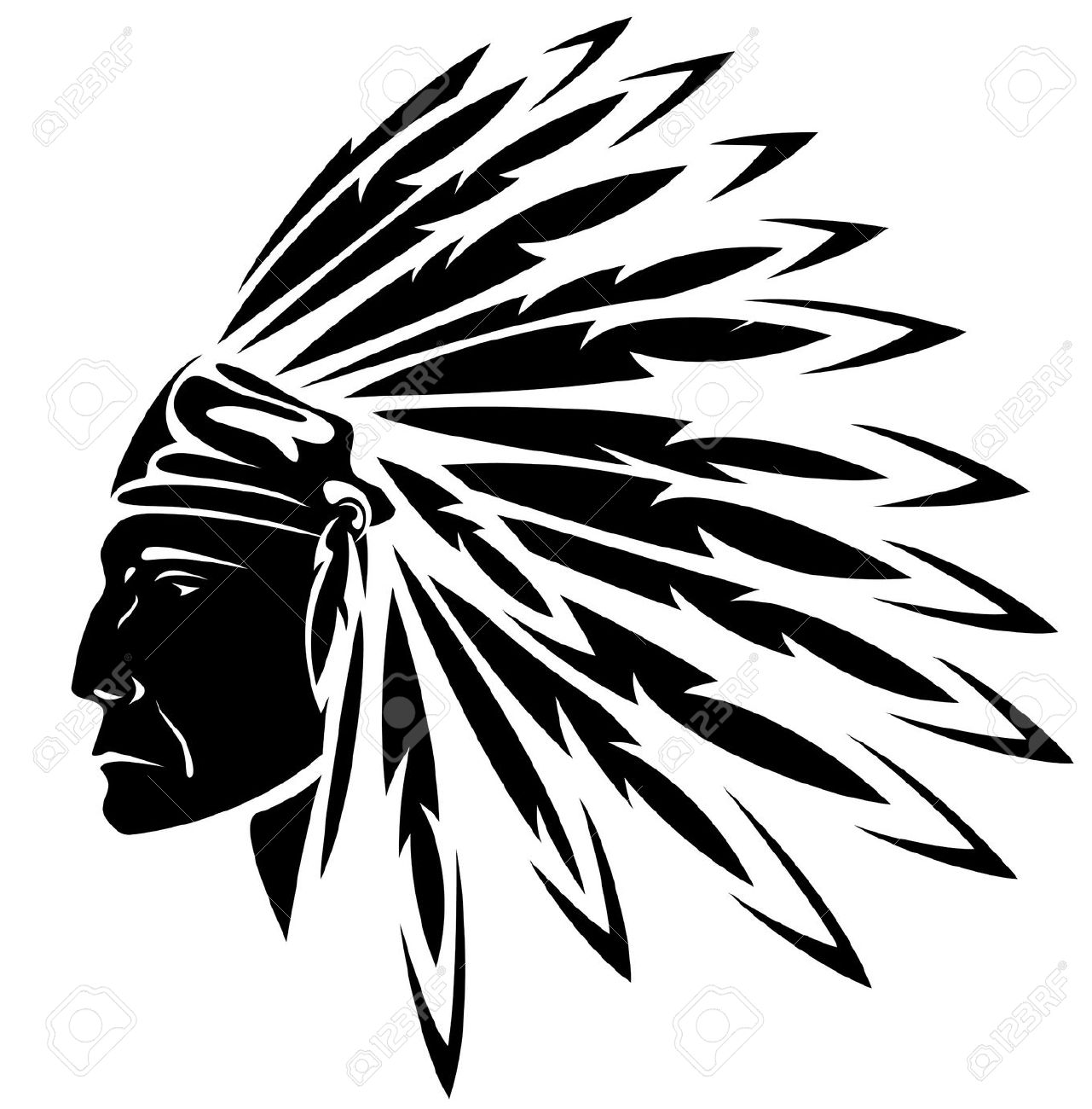 Headdress clipart chief Buy Vector indian American images