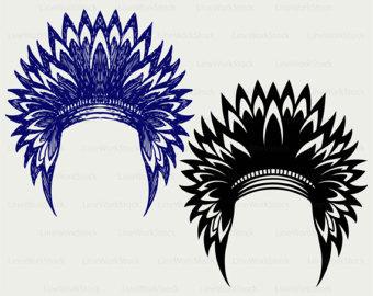 Headdress clipart cowboy indian Files headdress headdress silhouette svg