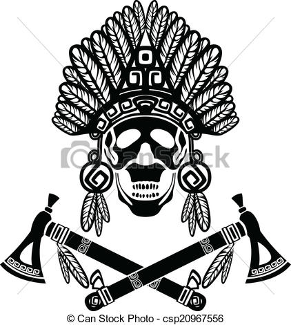 Headdress clipart drawing Indian  Indian crossed tomahawks