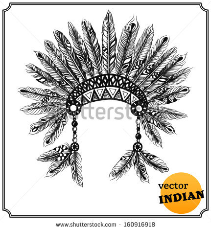 Headdress clipart drawing Native Style In Feathers Indian