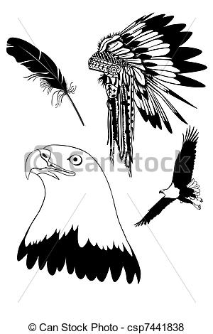 Indian clipart eagle Csp7441838 of Stock eagle Feathers