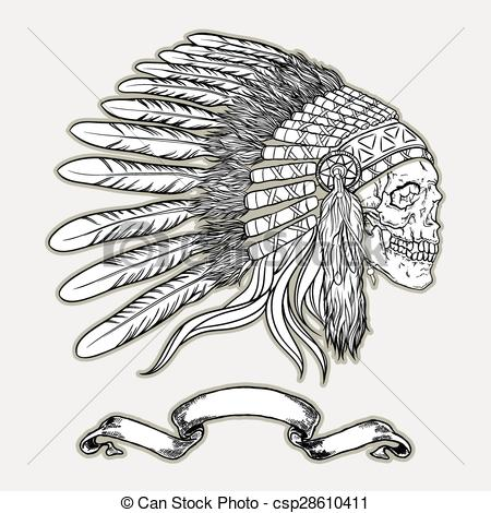 Chief clipart indian headdress Illustration Vector of Indian Native