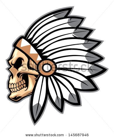 Headdress clipart indian head American Indian Skull art head