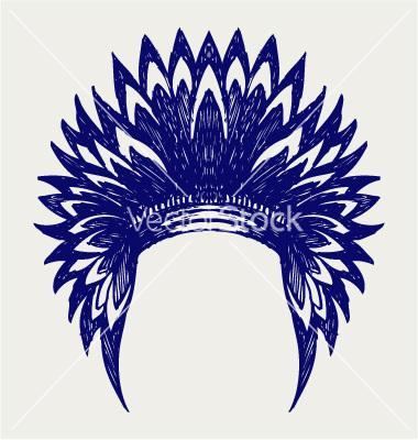 Headdress clipart indian head Indian headdress outline view outline