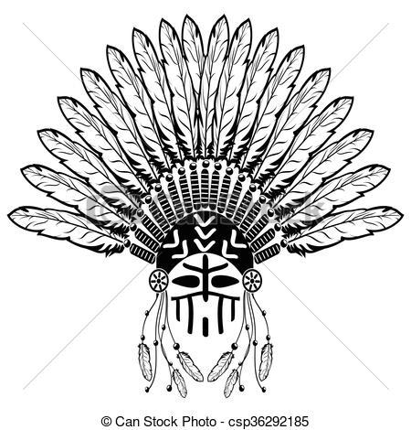 Headdress clipart plain Aztec white feathers symbolizing headdress