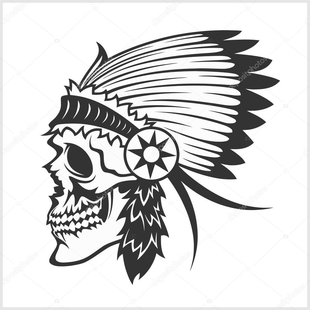 Headdress clipart tribal American indian tribal style isolated