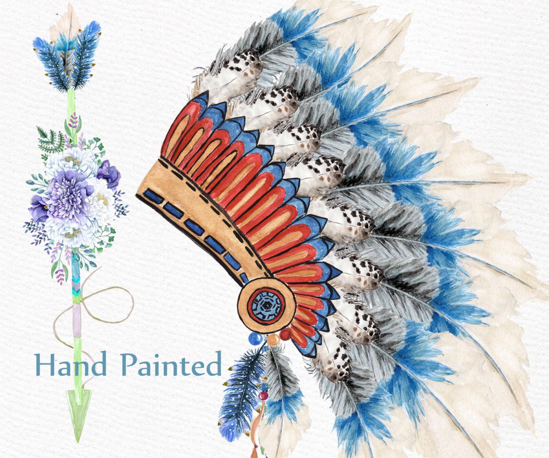 Headdress clipart tribal ON Art file Watercolor Clip
