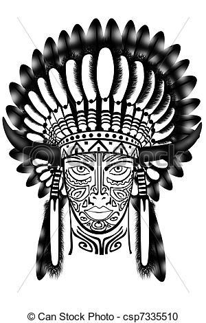 Headdress clipart warrior American Indian of Illustration Indian