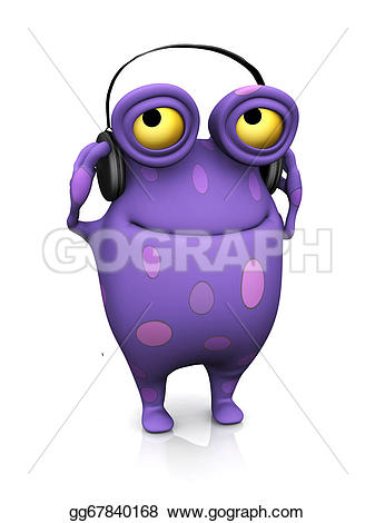 Headphone clipart big With he's monster listening the