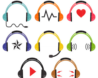 Headphone clipart colorful Toppers Scrapbooking Crafts Card clipart