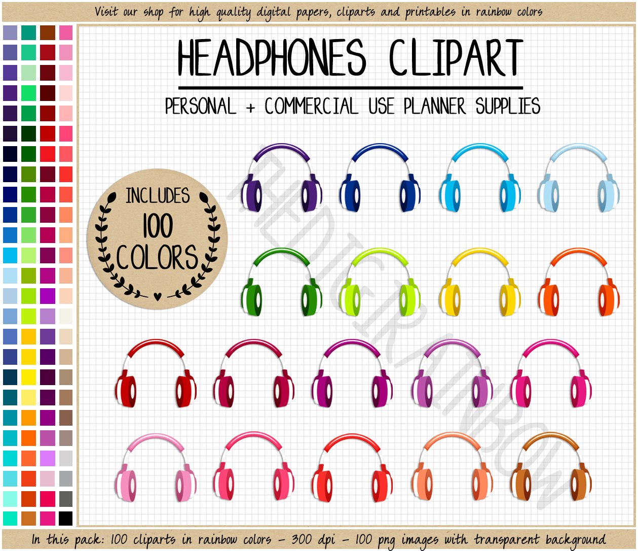 Headphone clipart colorful Rainbow SALE stickers 100