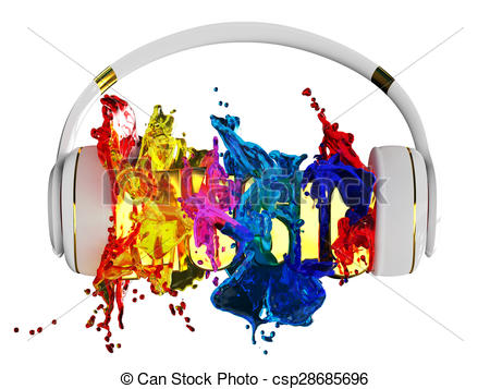 Headphone clipart colorful Headphones is color explosion word