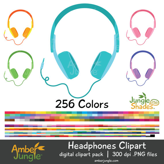 Headphone clipart colorful  Stickers to Music for