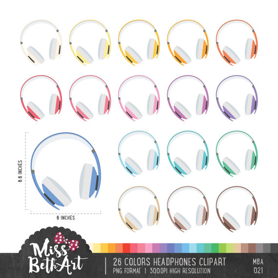Headphone clipart colorful Etsy Instant Download  26