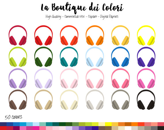 Headphone clipart colorful PNG art Colorful Clip Headphones