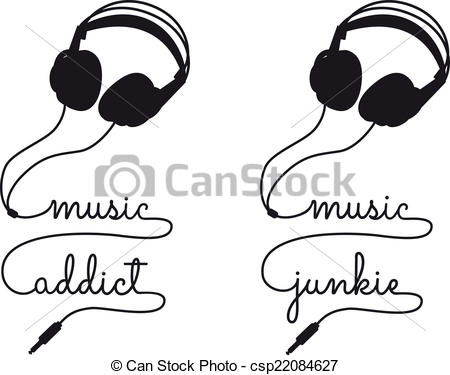 Headphone clipart cord clip art Headphone vector music Vector Illustration
