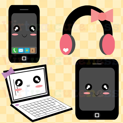 Headphone clipart cute Kawaii Clip Phone Laptop Tablet