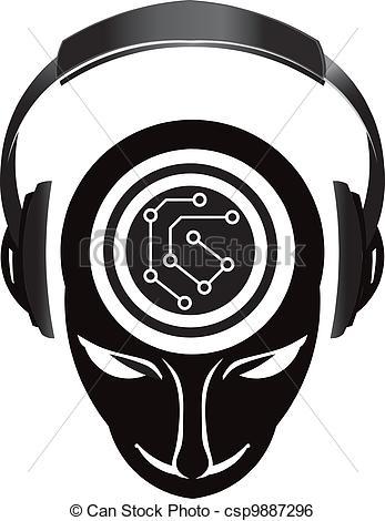 Headphone clipart dj equipment Showing electronic  head circuit