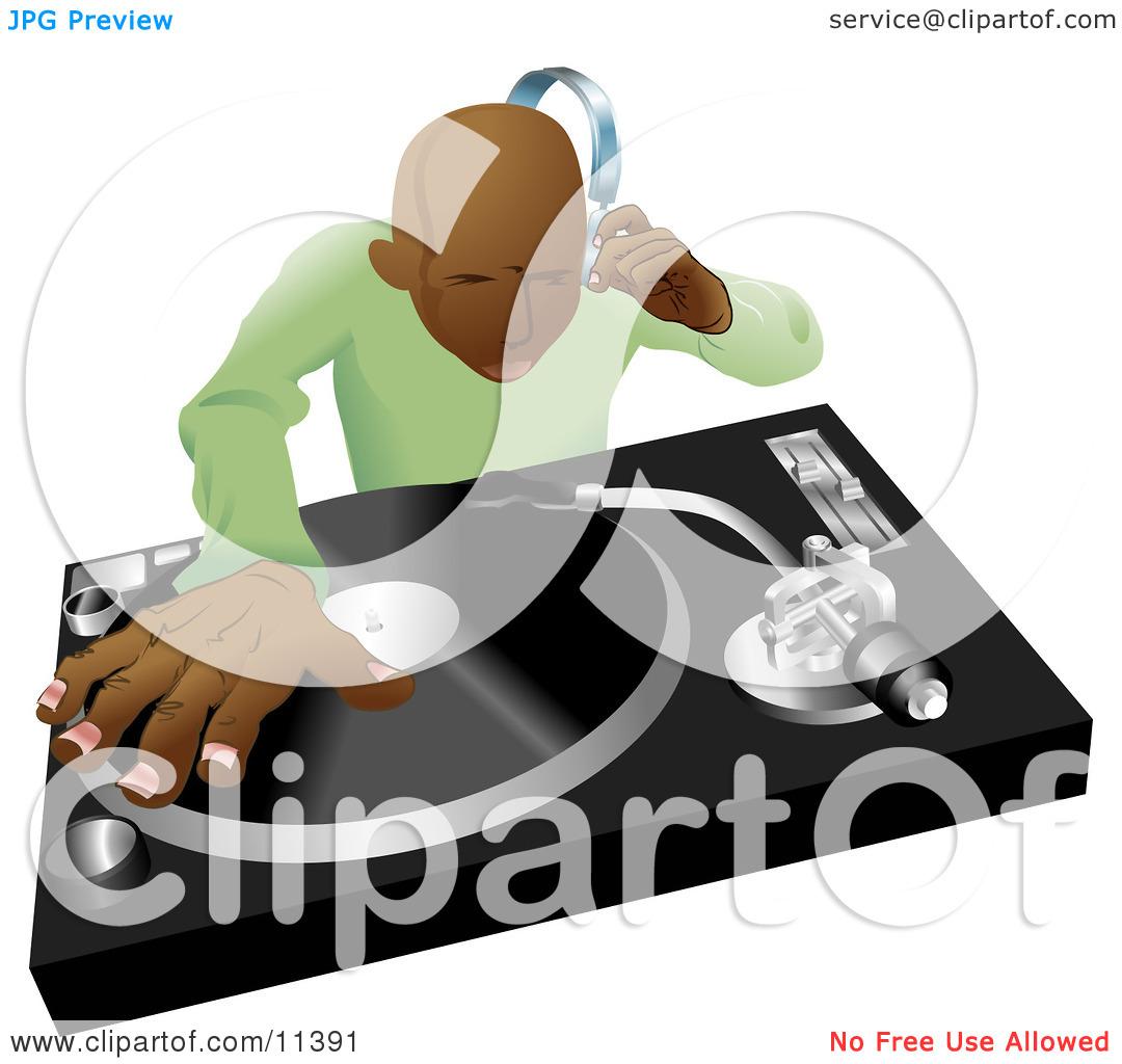 Headphone clipart dj mixer African American Dj Mixing Clipart