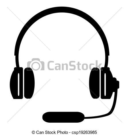Headphone clipart drawn Clip White Csp19263985 And A