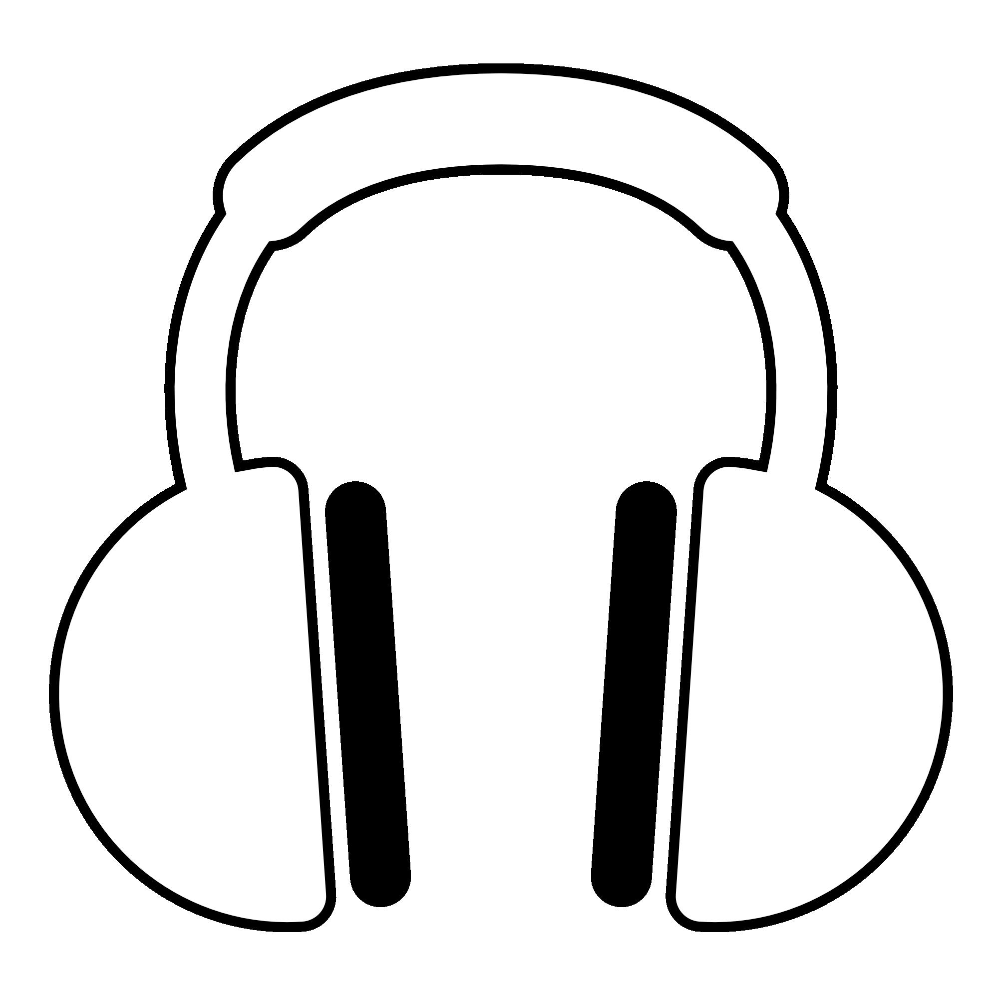 Headphone clipart drawn Black Headphones Clip Line Colouring