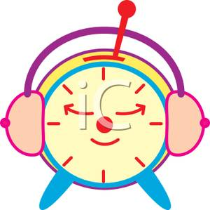 Headphone clipart for kid Clipart Headphones with Clock Resting