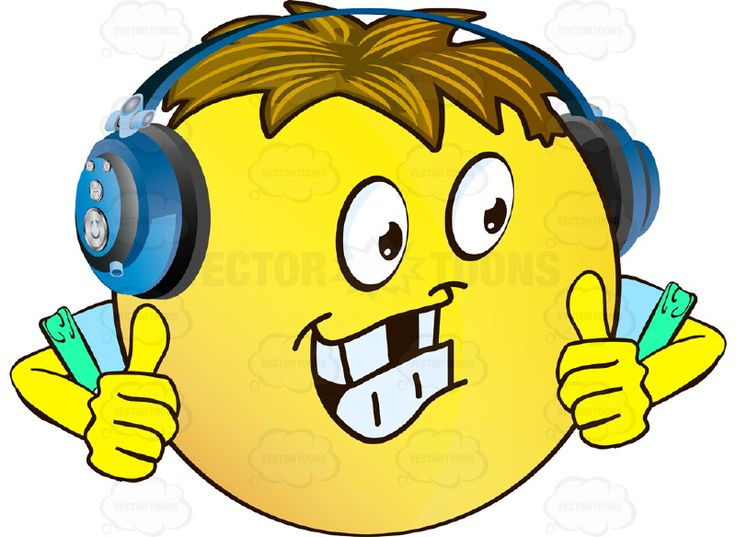 Headphone clipart happy face The Happy Thumbs And emoticon