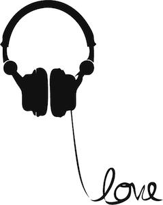 Headphone clipart i love Headphone Love Wall Art Decal