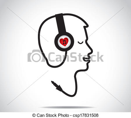 Headphone clipart i love Vector of listening music music