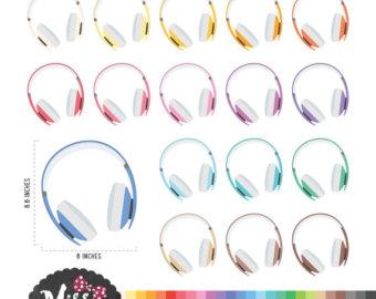 Headphone clipart listening cent Clipart Headphone Colors Etsy 26