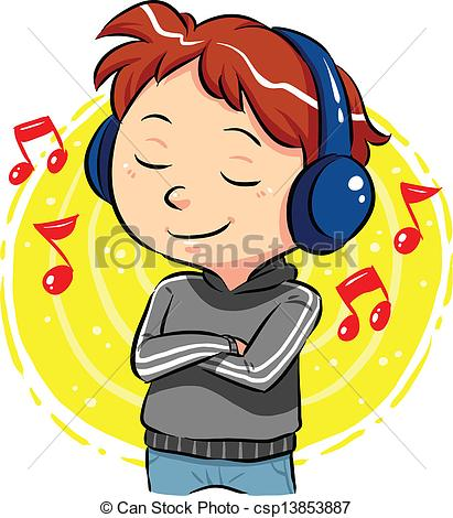 Headphone clipart listening comprehension Music Listening Clipart  royalty