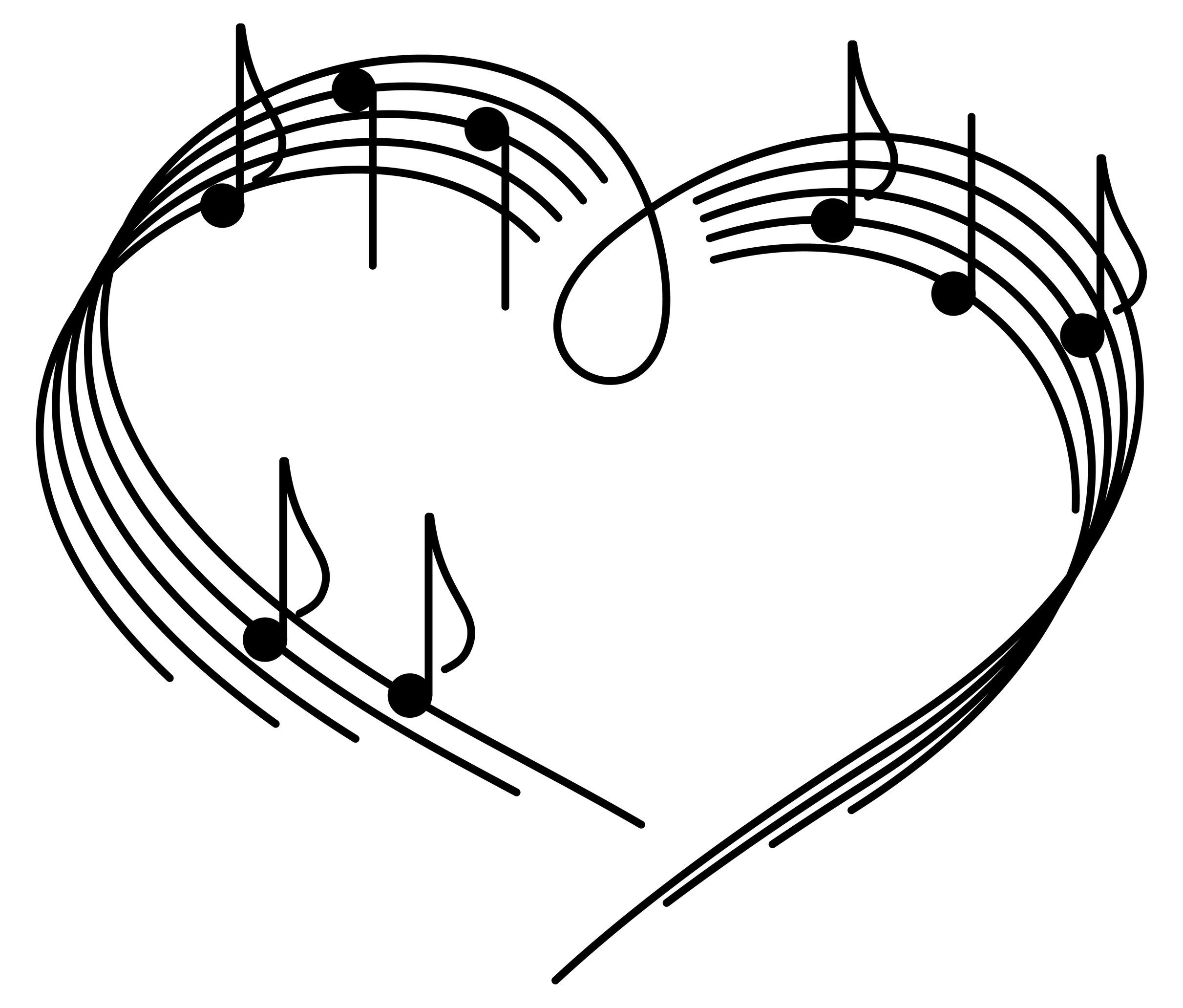 Amd clipart love Music notes and heart notes